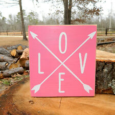 Love with Arrows Wooden Sign - Shelf Sitter - 13 Different Color Combinations!