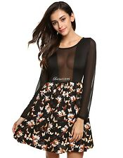 Women Fashion Sexy Sheer Chiffon Patchwork Floral A-Line Short Dress BF9
