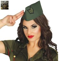 Adult 40s Military Army Side Cap Hat Soldier WW2 Fancy Dress Costume Accessory