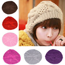 WOW  Fashion Winter Women Beret Braided Baggy Knit Crochet Beanie Hat Ski Cap