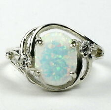 Created White Opal, 925 Sterling Silver Ring, SR021-Handmade