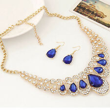 Women Rhinestone Waterdrop Pendant Necklace Shiny Earrings Jewelry Set Showy