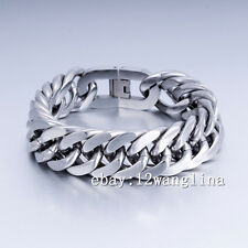 HUGE 20MM Mens Chain Silver Tone 316L Stainless Steel Curb Link Bracelet HEAVY