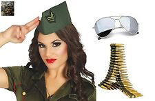 Adult 40s Military Army Side Cap Hat Bullet Belt Glasses WW2 Fancy Dress Costume