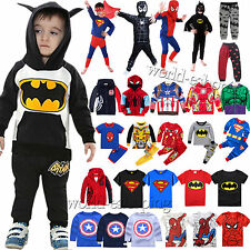 Baby Kids Boys Girls Superhero Coat T-shirt Hooded Top Long Pants Sleepwear Set