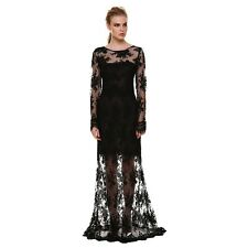 Women Sexy Backless Long Lace Cocktail Dress Maxi Prom Evening Party Clubwear S6