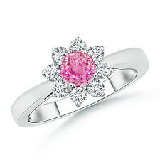Natural Round Diamond Pink Sapphire Cocktail Wedding Ring 14k White Yellow Gold