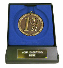 1st 2nd 3rd Laurel 50mm Medal (Gold, Silver, Bronze) with Case & FREE Engraving