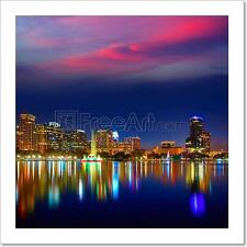 Orlando Skyline Sunset At Lake Eola Florida Us Art Print Home Decor Wall Art