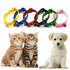 Strap Buckle Animal Dog Puppy Pet Polka Bell Collar Cat Kitten Nylon Fabric