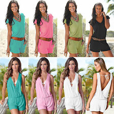 Sexy Womens V Neck Playsuit Party Beach Summer Shorts Jumpsuit Romper Mini Dress
