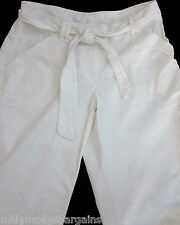 New Womens White Linen NEXT Crop Trousers Size 12 10 8 6 Tall Petite