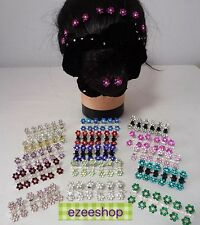6 * Girls Crystal RHINESTONE Flower MINI Hair Claw Clips Clamps Grips New