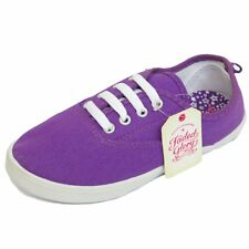 2 x KIDS CHILDRENS PURPLE LACE-UP CANVAS FLAT PLIMSOLLS SHOES PUMPS SIZES 12-5