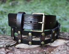 Cristopher Handmade Genuine Dark Brown Leather Belt Antique Brass Roller Buckle
