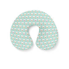 Geometric Bears on Mint Travel Neck Pillow - Inflatable