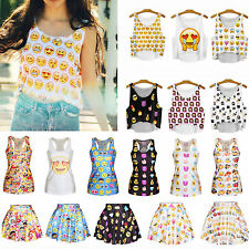 Emoji Printed Women Casual Party Sleeveless Cropped Top Vest T-shirt Skirt Dress