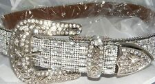 ATLAS WESTERN COWGIRL BLING COWGIRL LEATHER BELT CLEAR RHINESTONE AB CRYSTAL