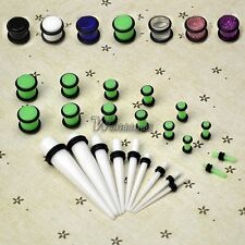 New 23 Pcs Ear Taper+ PLUG Kit 14G-00G 1.6mm-10mm Gauges Expander W