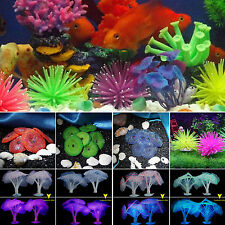 Artificial Coral Glowing Effect Plant Silcone Fish Tank Aquarium Decor Ornaments