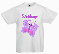 PERSONALISED CHILDRENS  KIDS T SHIRT*ANY NAME * LILAC  BUTTERFLY
