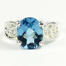 London Blue Topaz, 925 Sterling Silver Ring, SR369-Handmade