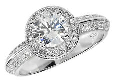 925 Sterling Silver Ladies Cubic Zirconium Dress Womens Ring Various Size 3.50gr