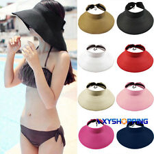 Womens Wide Brim Straw Visor Hat Roll Up Foldable Floppy Holiday Beach Sun Cap