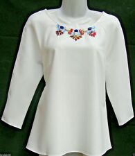 MARKS & SPENCER IVORY BEADED SCOOP NECK TUNIC TOP Sizes 14-24
