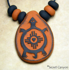 ~~TURTLE PENDANT~~ Mimbres Pottery Tribal Style Handmade Clay Necklace + Beads