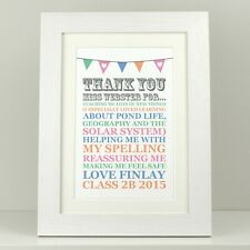 Personalised print Thank you teacher / Teachers end of term gift present VA100