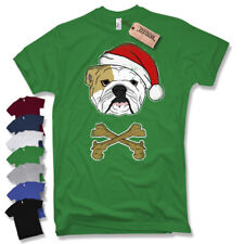 Santa Bulldog T-Shirt English Bulldog Christmas Gift Fun