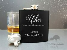 6oz black personalised Hip Flask.grooms Party gift with box choice bf9