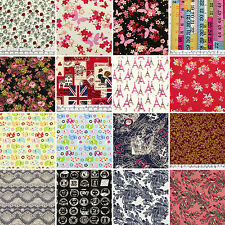 PRECUT Cotton Fabric 3/4 Yard 110x67.5 cm Mixed Flower Dot Gingham Plaid Striped