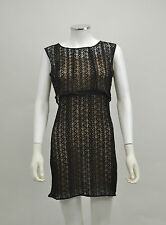 BNWT BOOHOO LADIES BLACK & BEIGE LACE FITTED COCKTAIL PARTY DRESS SIZE 6
