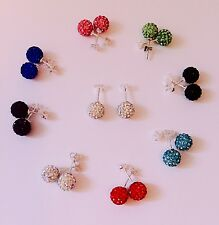 Shamballa Stud Earrings - 8mm Pave Bead on 925 Sterling Silver