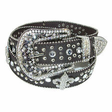 New CTM Women's Fleur de Lis Studded Rhinestone Belt