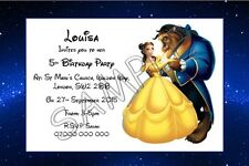 Beauty and The Beast Personalised Party Invitations Thank You Cards A6 Glossy