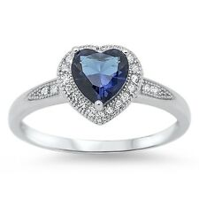 Stunning 925 Sterling Silver Blue Sapphire CZ Heart Ring Clear CZ Size 4-10