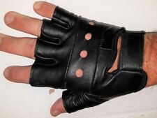 NEW FINGERLESS MOTORCYCLE CRUISER PREMIUM LEATHER GLOVES