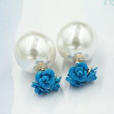 Stylish rose pearl double sided stud earrings