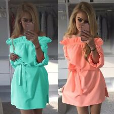 New Fashion Women Ruffles Slash Neck Off Shoulder Summer Dress Casual Mini WT88