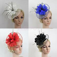 Flower Feather Fascinator Big Headband Wedding Women Parties Church Hat