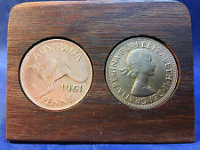 1961 Birthday Gift Present Jarrah Plaque w/ 1961 original penny -other years av