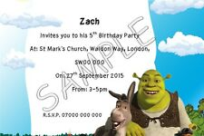 Shrek Personalised Kids Party Invitations Thank You Cards A6 Glossy + Env