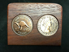 1936 Birthday Gift Present Jarrah Plaque w/ 1936 original penny -other years av
