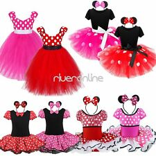 Toddler Girls Kids Minnie Mouse Fancy Tutu Dress Ears Outfit Cosplay Costume