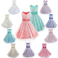 Girls Lace Formal Dress Flower Wedding Bridesmaid Party Pageant Princess Gown