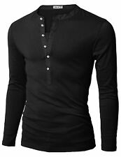 DU15 Doublju Mens Henley T-shirts W/ Long Sleeve- Choose SZ/Color.