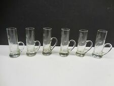 6 ETCHED CORDIAL SHOT GLASSES WITH HANDLE              L3